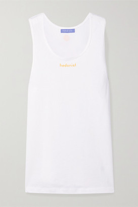 PARADISED Hedonist Printed Cotton-jersey Tank - White