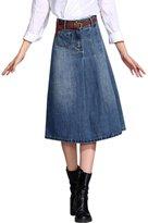 Tanming Women's Middle Long Pleated Denim Skirt