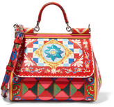 Dolce & Gabbana Sicily Medium Printed Textured-leather Shoulder Bag - one size