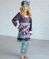 Purple & Gray Stripe Dress & Polka Dot Leggings - Girls