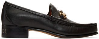 Gucci Black Leather Interlocking G Horsebit Loafers