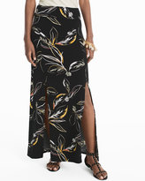 White House Black Market Leaf Print Knit Maxi Skirt