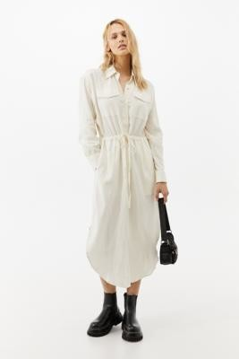 Urban Outfitters Edison Linen Button-Down Shirt Dress - Beige S at