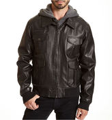 JCPenney Excelled Leather Excelled Bomber Jacket with Hood-Big & Tall
