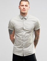 Asos Skinny Shirt In Light Stone With Short Sleeves