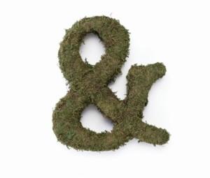 "Lillian Rose Large 12"" Moss Monogram Ampersand"