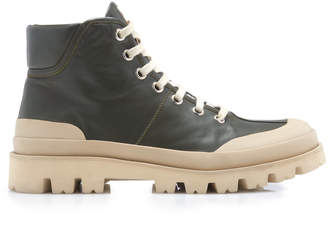 Marni Rubber-Paneled Leather Ankle Boots