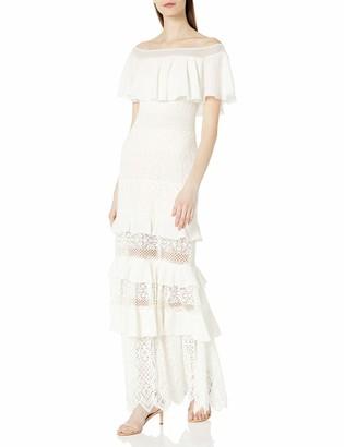 Tadashi Shoji Women's Off Shldr Tiered Crochet LACE Gown