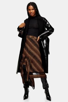 Topshop Womens Brown Warped Tiger Lace Midi Skirt - Dark Brown