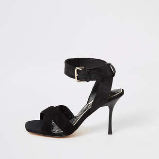 River Island Black cross strap high heeled sandal