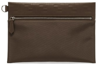 Fendi Ff Logo-embossed Leather Pouch - Brown