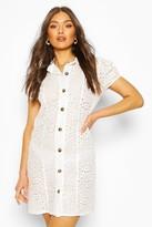 boohoo Broderie Anglais Short Sleeve Shirt Dress