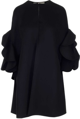 Valentino Ruffled Shoulder Cape Coat