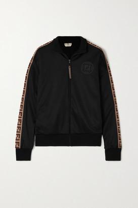 Fendi Jacquard-trimmed Satin-jersey Track Jacket - Black