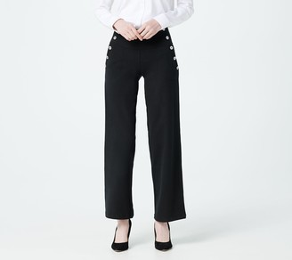 Women With Control Petite Tummy Control Sailor Pants with Pockets