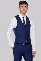 Moss London Performance Skinny Fit Bright Blue Waistcoat