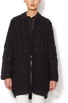 Valentino Wool Embellished Knit Coat
