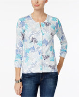 Charter Club Embellished Print Cardigan, Only at Macy's