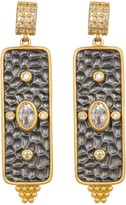 Freida Rothman 14K Gold Plated Sterling Silver CZ Contemporary Deco Bar Drop Earrings
