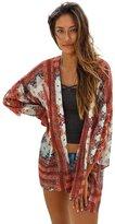 Perman Women Floral Chiffon Loose Shawl Kimono Cardigan Tops Cover up Tops (XL, )