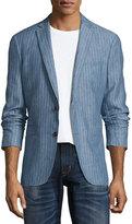 John Varvatos Thompson Striped Two-Button Soft Jacket, Medium Blue