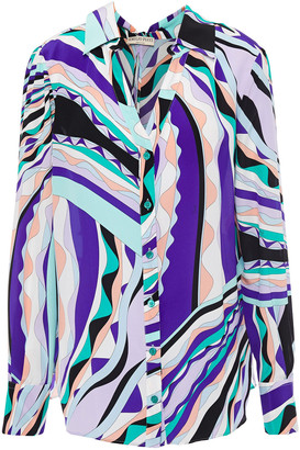 Emilio Pucci Bow-detailed Printed Silk Crepe De Chine Shirt