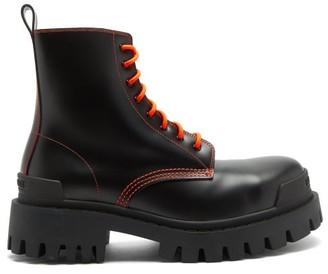 Balenciaga Strike Leather Lace-up Boots - Black Orange
