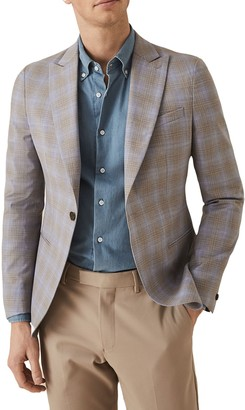 Reiss Yale Check Print Peak Collar Single Button Jacket