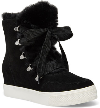 Steve Madden Women's Sneakers BLACK - Black Faux Fur-Trim Wharton Suede Boot - Women