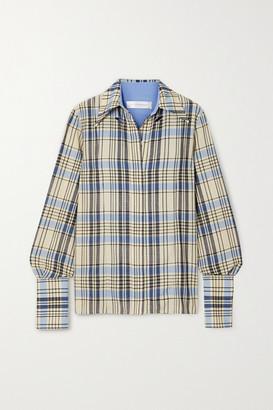 Victoria Beckham Cutout Checked Wool Shirt - Light blue