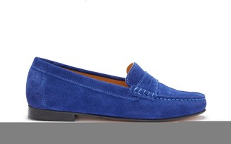 Hugs & Co Womens Penny Loafers Leather Sole Ink Blue Suede