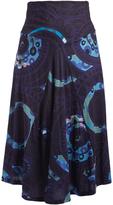 Aller Simplement Blue Geometric Maxi Skirt - Plus Too