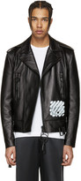Off-White Black Leather Diagonal Carryover Biker Jacket