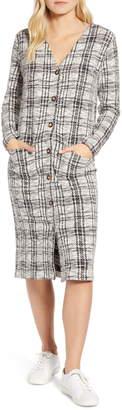Lou & Grey Plaid Textured Cardigan Dress
