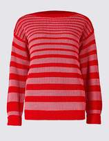 Marks and Spencer Pure Cotton Striped Slash Neck Jumper