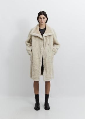 we11done Embossed Logo Faux Fur Shearling Coat