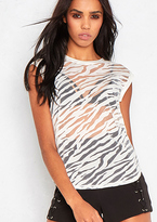 Missy Empire Alizka White Sheer Printed Sleeveless Top