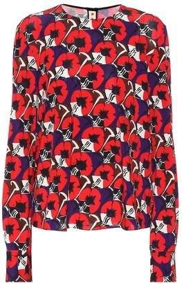 Marni Floral-printed crepe blouse