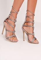 Missguided Silk Rope Knot Gladiator Sandal Grey