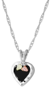"""Black Hills Gold Onyx Heart Pendant 18"""" Necklace in Sterling Silver with 12K Rose and Green Gold"""