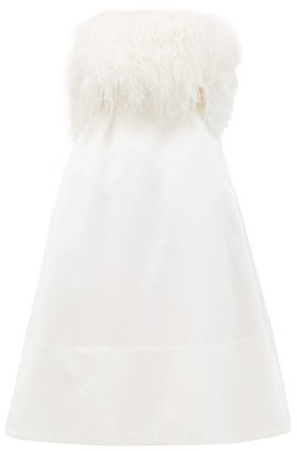 Richard Quinn Feather-bodice Duchess-satin Dress - Womens - Ivory
