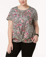 INC International Concepts I.n.c. Plus Size Embroidered Printed Twist-Front Top, Created for Macy's