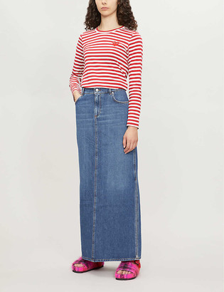 Comme des Garcons Heart patch striped cotton-jersey top