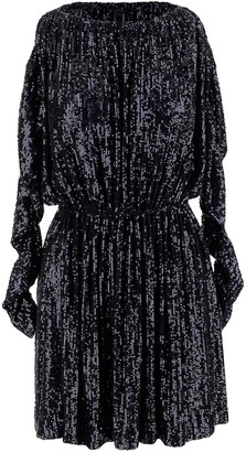 Saint Laurent Long-sleeved Sequined Fabric Women's Mini Dress