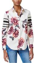 GUESS Womens Viven Printed Button Up Shirt blissfulbloomsantique M