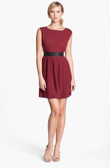 BB Dakota Faux Leather Trim Pleated Chiffon Dress (Online Only)
