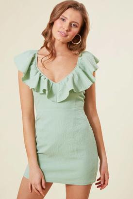 MinkPink Frills Mini Dress Mint Green XS