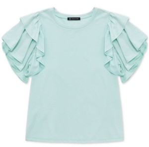 INC International Concepts Inc Cotton Ruffled-Sleeve Top, Created for Macy's
