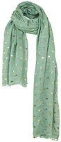 Fat Face Heart Print Scarf, Green