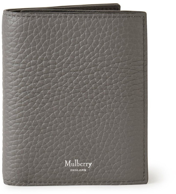 Mulberry Trifold Wallet Charcoal Heavy Grain Leather